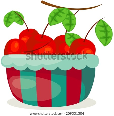 illustration of isolated a basket of cherry on white  - stock vector