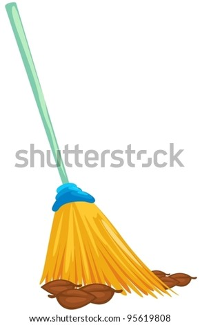 illustration of isolated a broom with dead leaves on white - stock vector