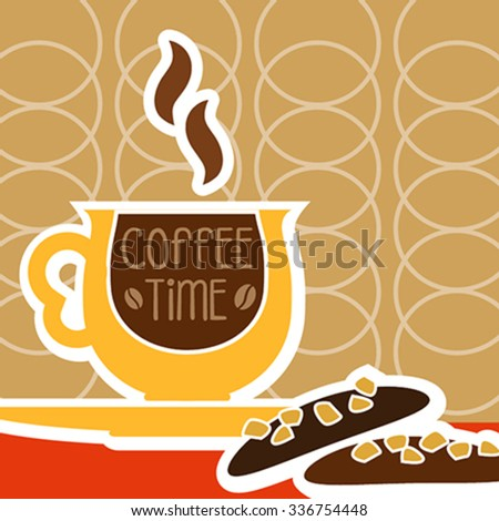 illustration of isolated a cup of coffee and sweet - stock vector