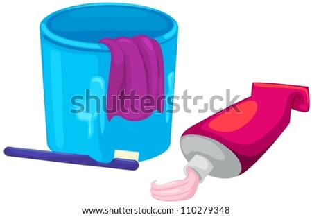 illustration of isolated  A cup, toothbrush and toothpaste