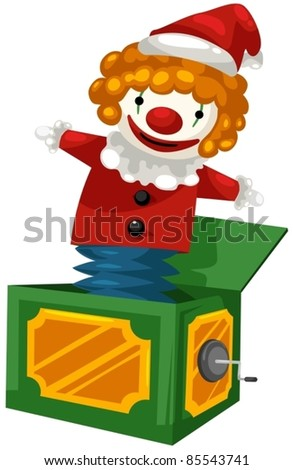 illustration of isolated a jack in the box on white background - stock vector