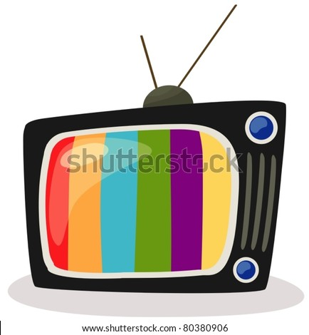 illustration of isolated a  retro tv with color screen on white - stock vector