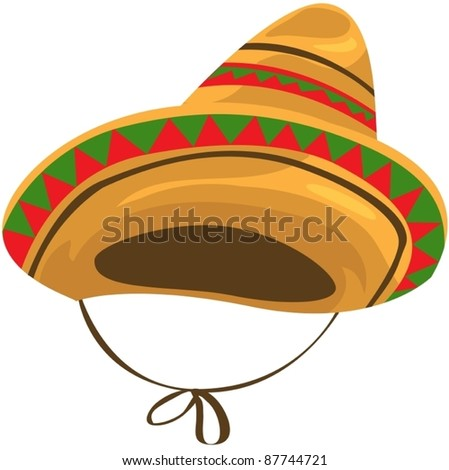 illustration of isolated a sombrero straw hat on white
