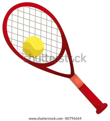 illustration of isolated a tennis racket and ball on white - stock vector