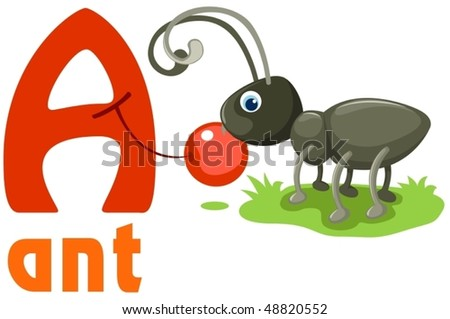 illustration of isolated animal alphabet A with ant - stock vector