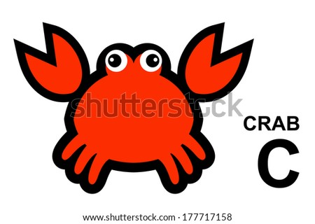 illustration of isolated animal alphabet. C is for crab. Vector illustration.  - stock vector