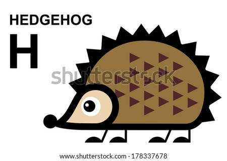 illustration of isolated animal alphabet. H is for hedgehog. Vector illustration.  - stock vector