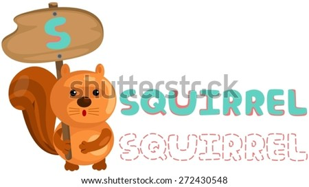 illustration of isolated animal alphabet s with squirrel - stock vector