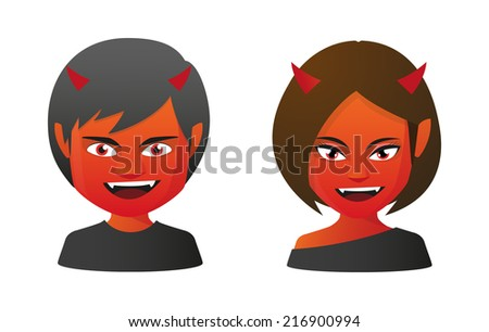 Illustration of isolated avatars in halloween costumes - stock vector