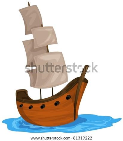 illustration of isolated  bark boat on white background - stock vector