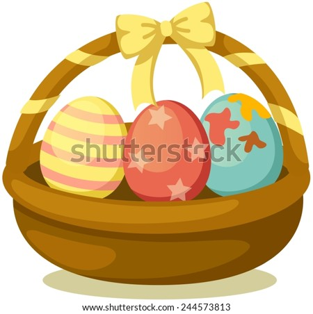 illustration of isolated basket of easter eggs on white