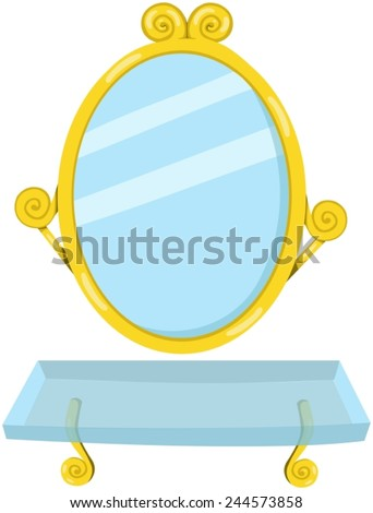 illustration of isolated bathroom mirror with shelf  - stock vector