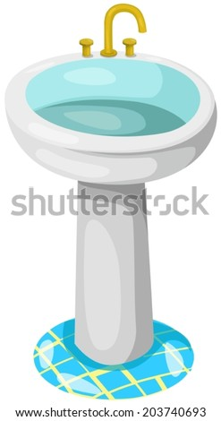 illustration of isolated bathroom sink on white background