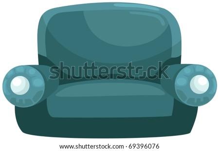 illustration of isolated blue sofa on white background - stock vector