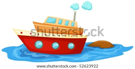 illustration of isolated boat on white background - stock vector