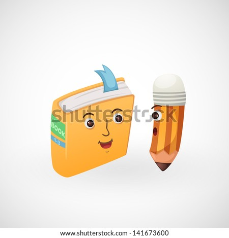illustration of isolated book and pencil - stock vector