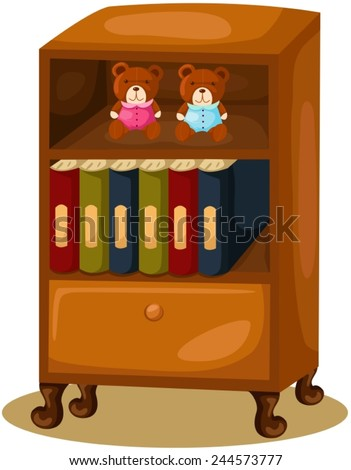 illustration of isolated bookcase on white