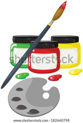 illustration of isolated bottles of paint with paintbrush  - stock vector