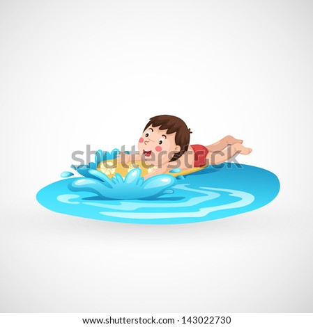 illustration of isolated boy and a swimming pool vector - stock vector