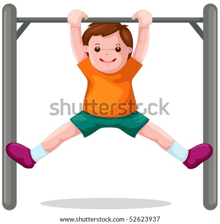 illustration of isolated boy hangs on a horizontal bar - stock vector