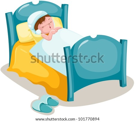 illustration of isolated boy sleeping in bed - stock vector