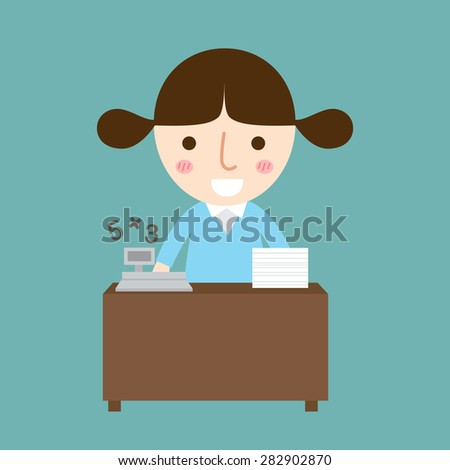 illustration of isolated business woman vector - stock vector