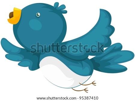 illustration of isolated cartoon bird flying on white - stock vector