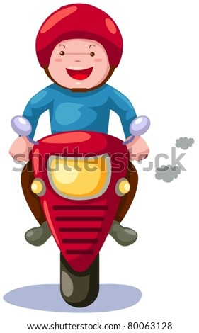 illustration of isolated cartoon boy riding motorcycle on white - stock vector