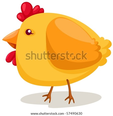 illustration of isolated cartoon chicken on white background - stock vector