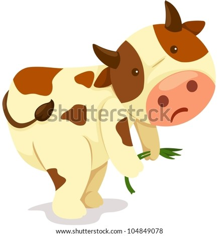 illustration of isolated cartoon cow working hard