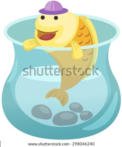 illustration of isolated cartoon fish in the bowl  - stock vector