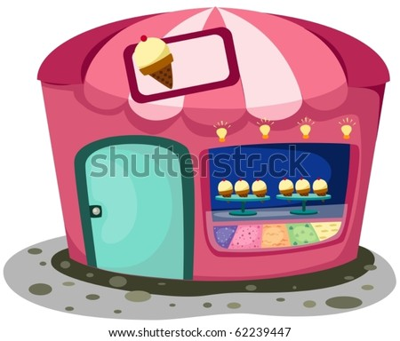 illustration of isolated  cartoon ice cream shop on white - stock vector