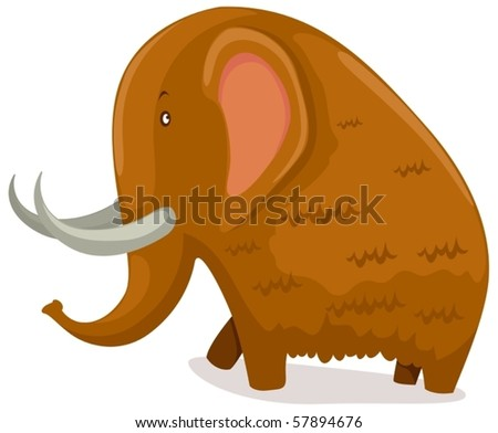 illustration of isolated cartoon mammoth on white background - stock vector