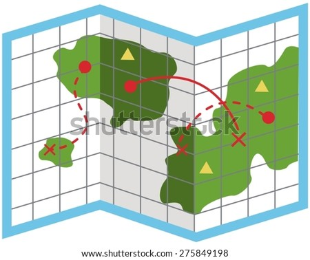 illustration of isolated cartoon map on white  - stock vector