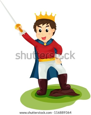 illustration of isolated cartoon prince on white - stock vector