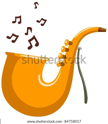 illustration of isolated cartoon saxophone  with note on white - stock vector