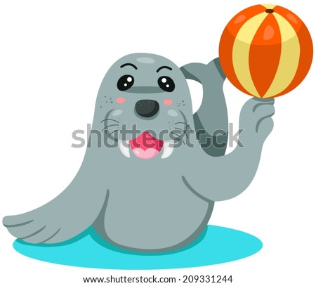 illustration of isolated cartoon seal playing ball on white - stock vector