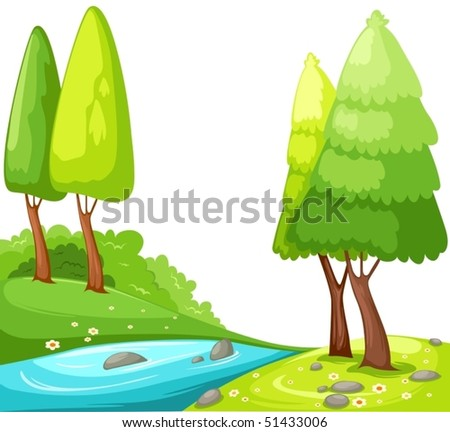 illustration of isolated cartoon view countryside on white