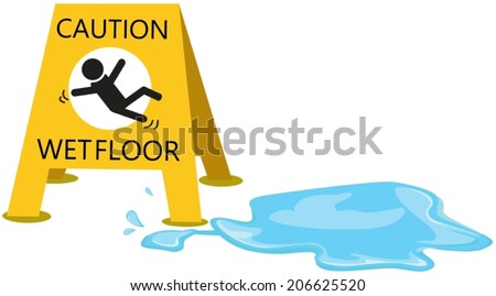 illustration of isolated caution  slippery with drop water