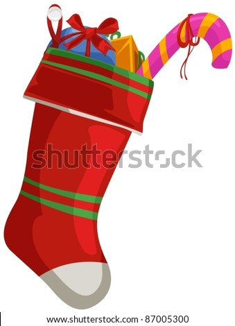 illustration of isolated christmas sock with gift on white - stock vector