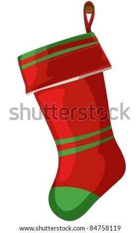 illustration of isolated christmas socks on white background - stock vector