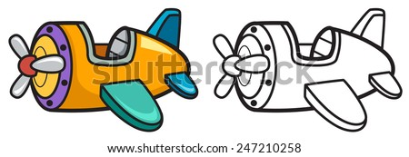 Illustration of isolated colorful and black and white airplane for coloring book - stock vector