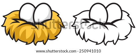Illustration of isolated colorful and black and white eggs and nest for coloring book  - stock vector