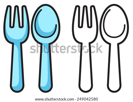 Illustration of isolated colorful and black and white fork and spoon for coloring book - stock vector