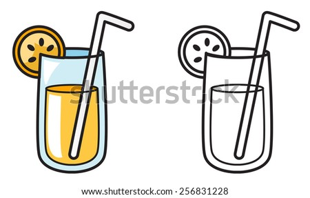 Illustration of isolated colorful and black and white  juice for  coloring book - stock vector