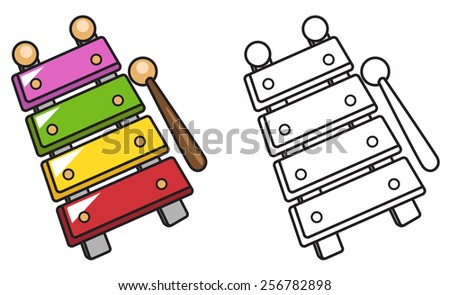 illustration of isolated colorful and black and white xylophone for coloring book