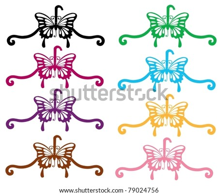 illustration of isolated colorful coat hanger on white background - stock vector