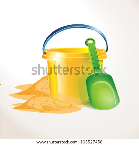 illustration of isolated colorful toy. Shovel, bucket beach on white background - stock vector