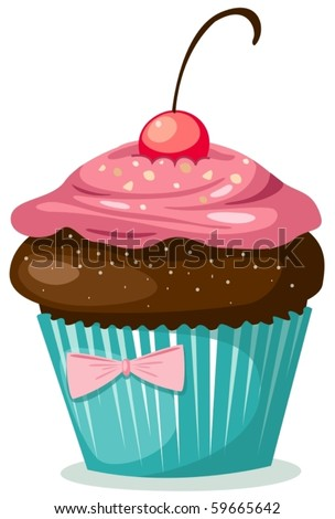 illustration of isolated cupcake  on white background - stock vector