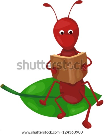 illustration of isolated cute ant reading a book on white - stock vector